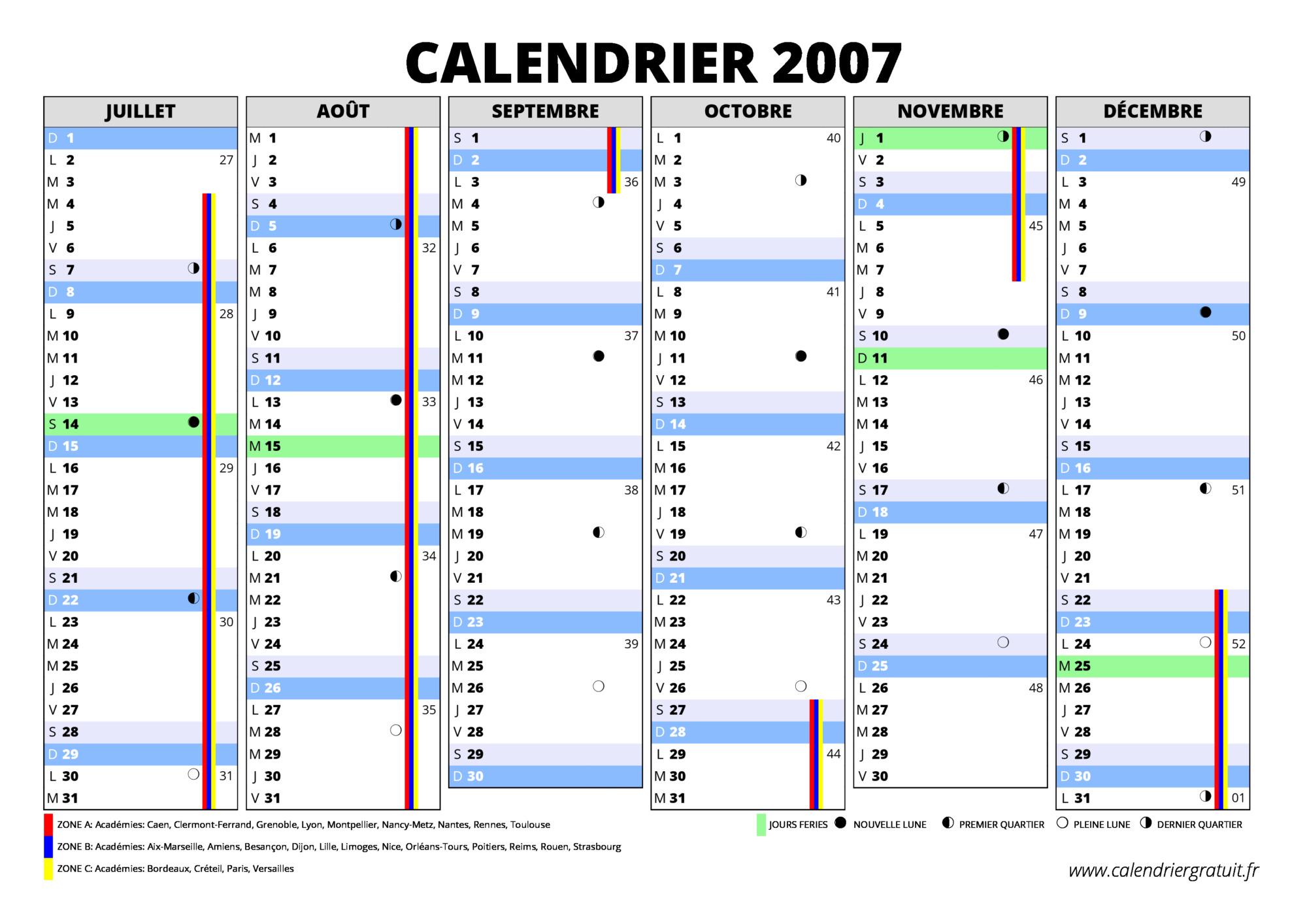 Calendrier trimestriel 2016, 2017, 2018, etc., calendrier scolaire ...