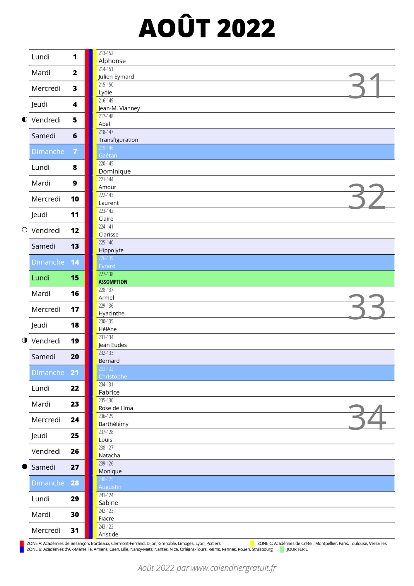 Calendrier Août 2022 calendrier août 2022