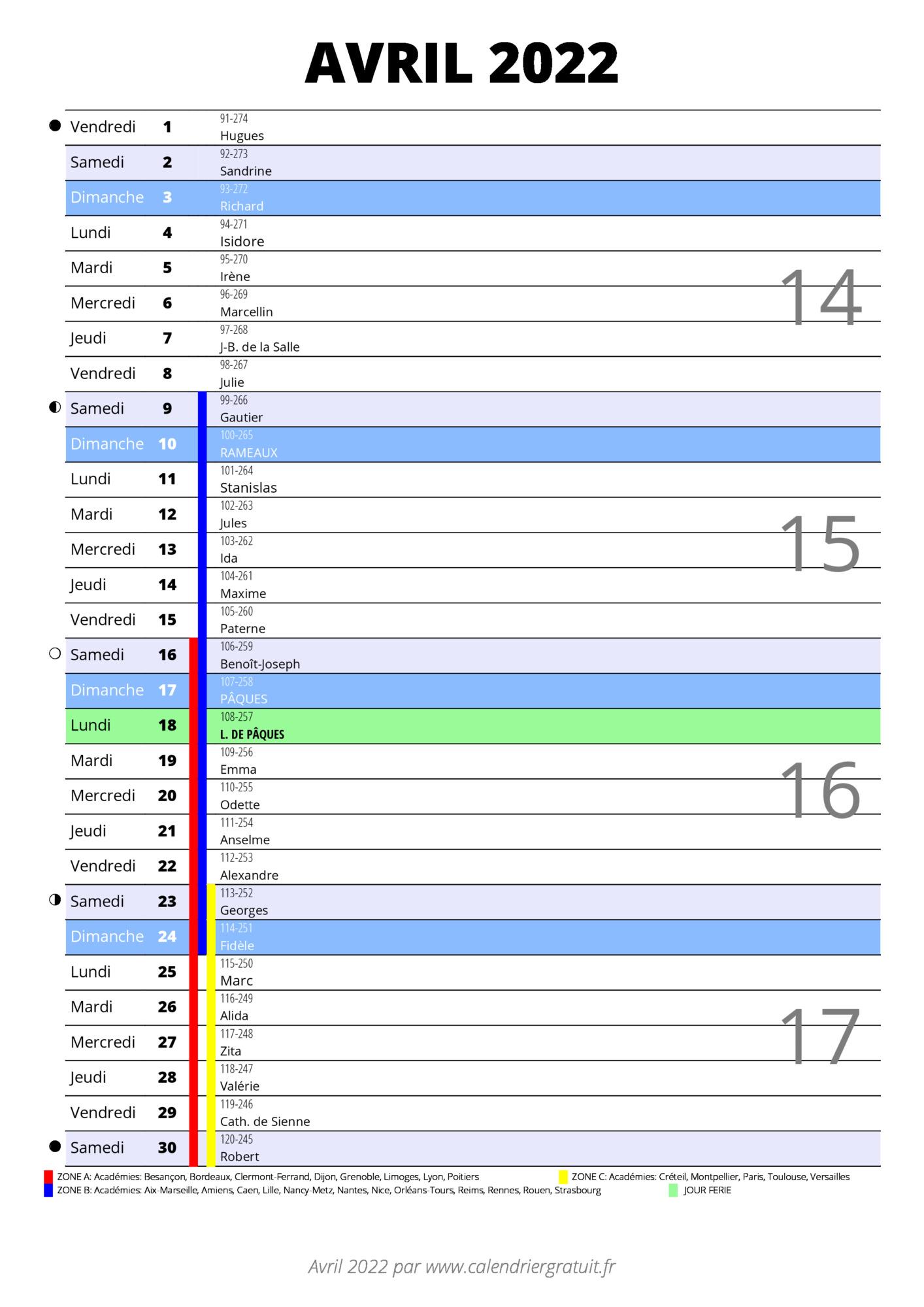 Calendrier Avril 2022 Pdf calendrier avril 2022