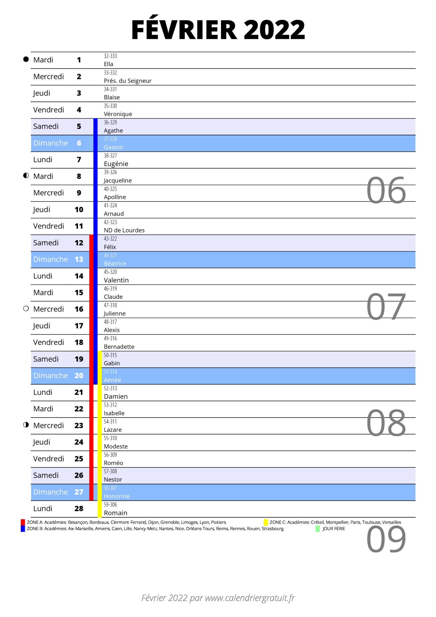 Calendrier Mois De Février 2022 calendrier février 2022