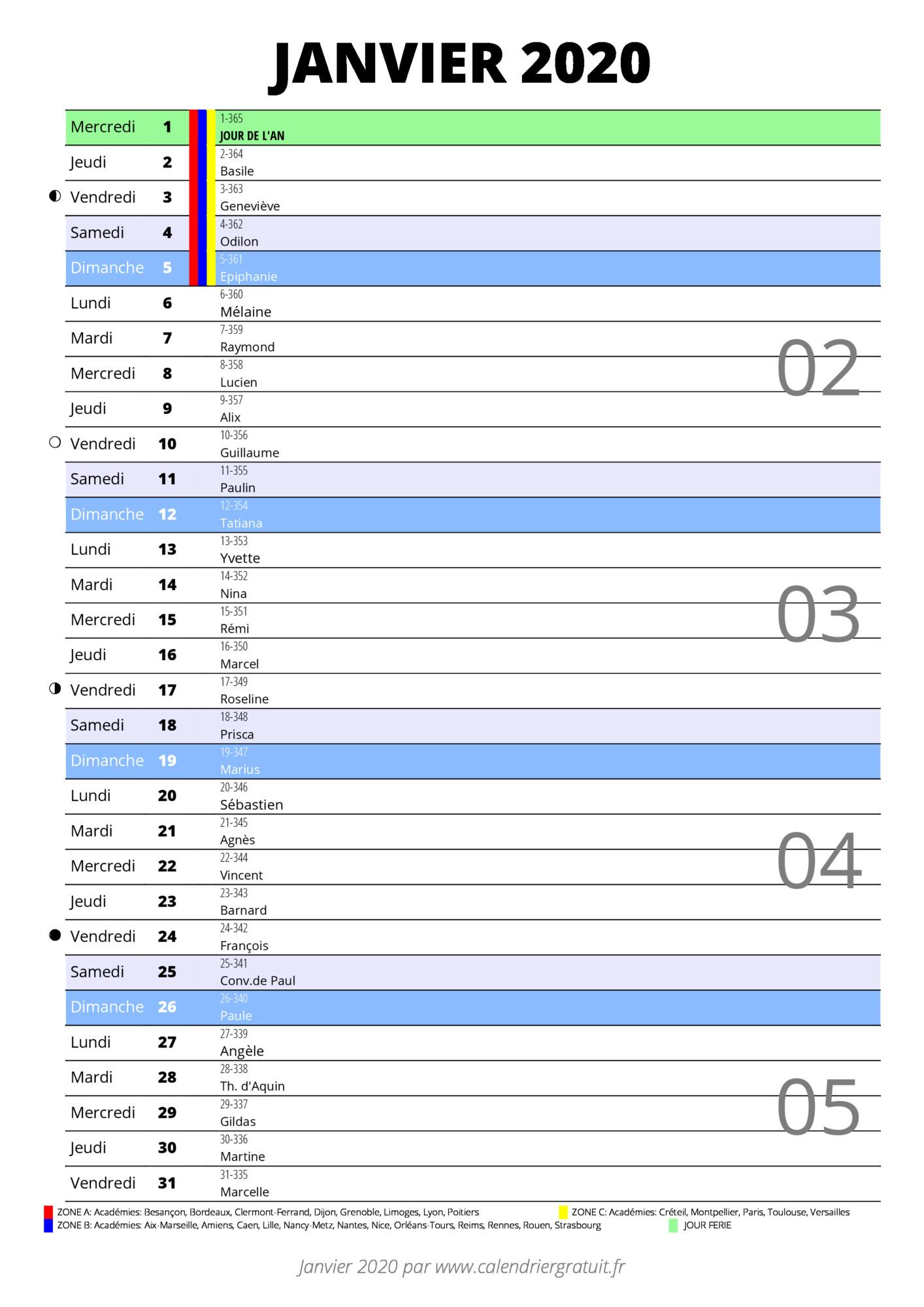 Calendrier 2020 Format Excel.Calendrier Janvier 2020 A Imprimer