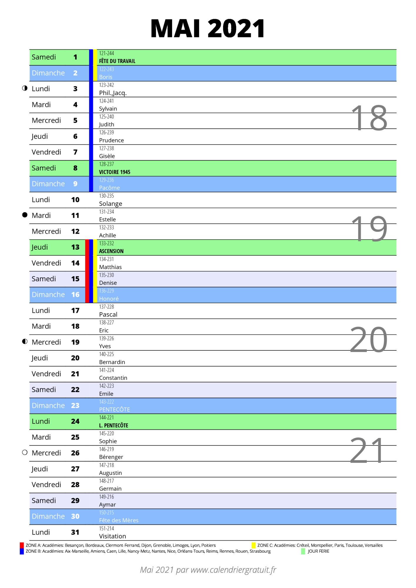 calendrier mai 2021 à imprimer