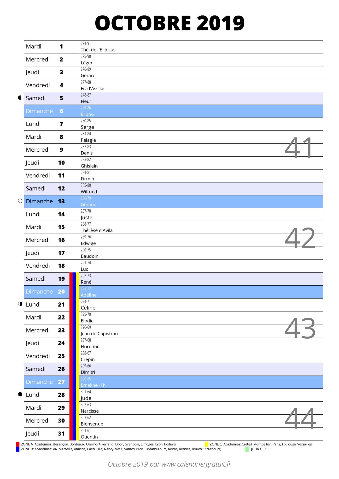 Calendrier 2019 Excel A Telecharger.Calendrier Octobre 2019 A Imprimer