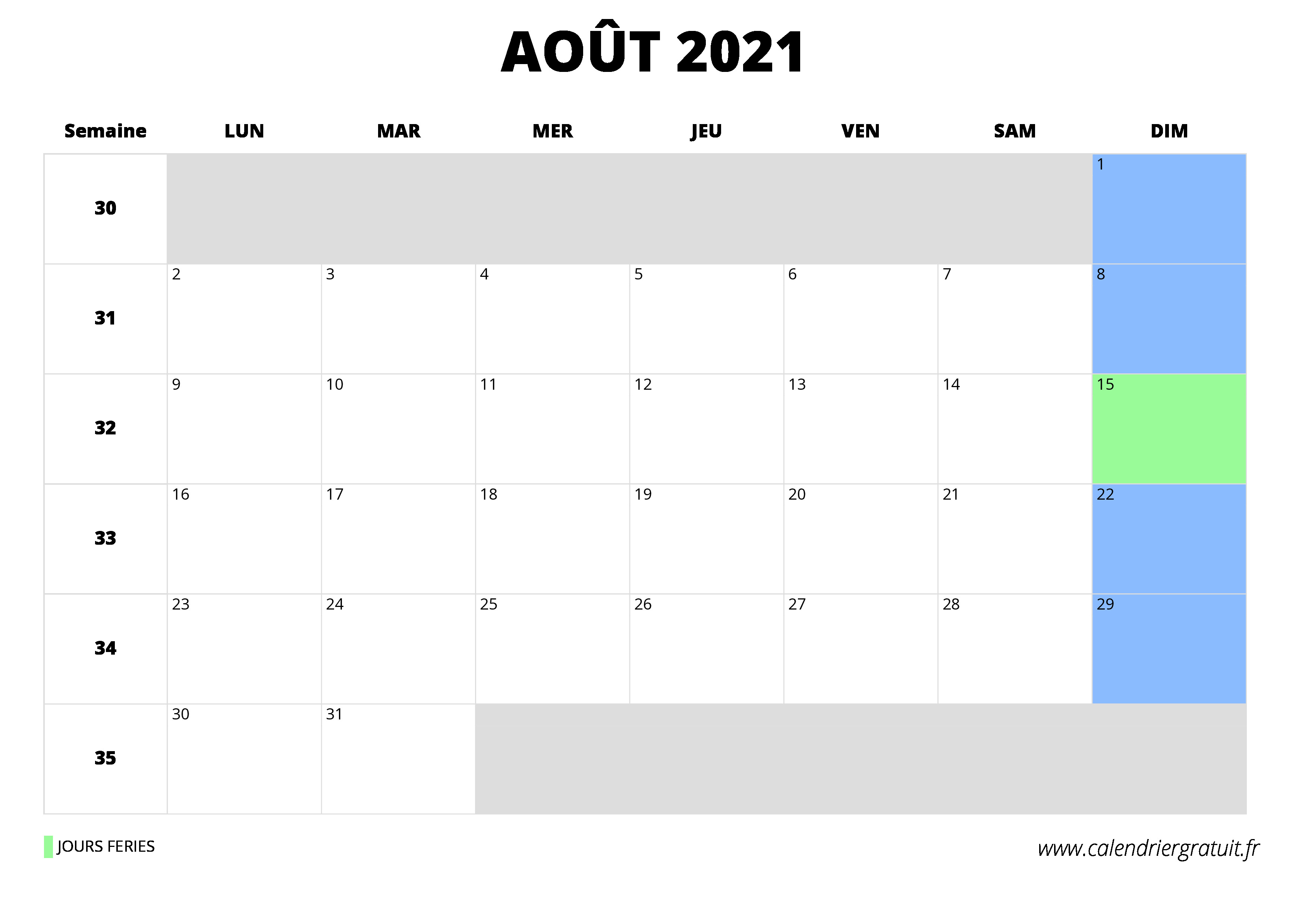 Calendrier Excell.Calendrier Aout 2021 A Imprimer