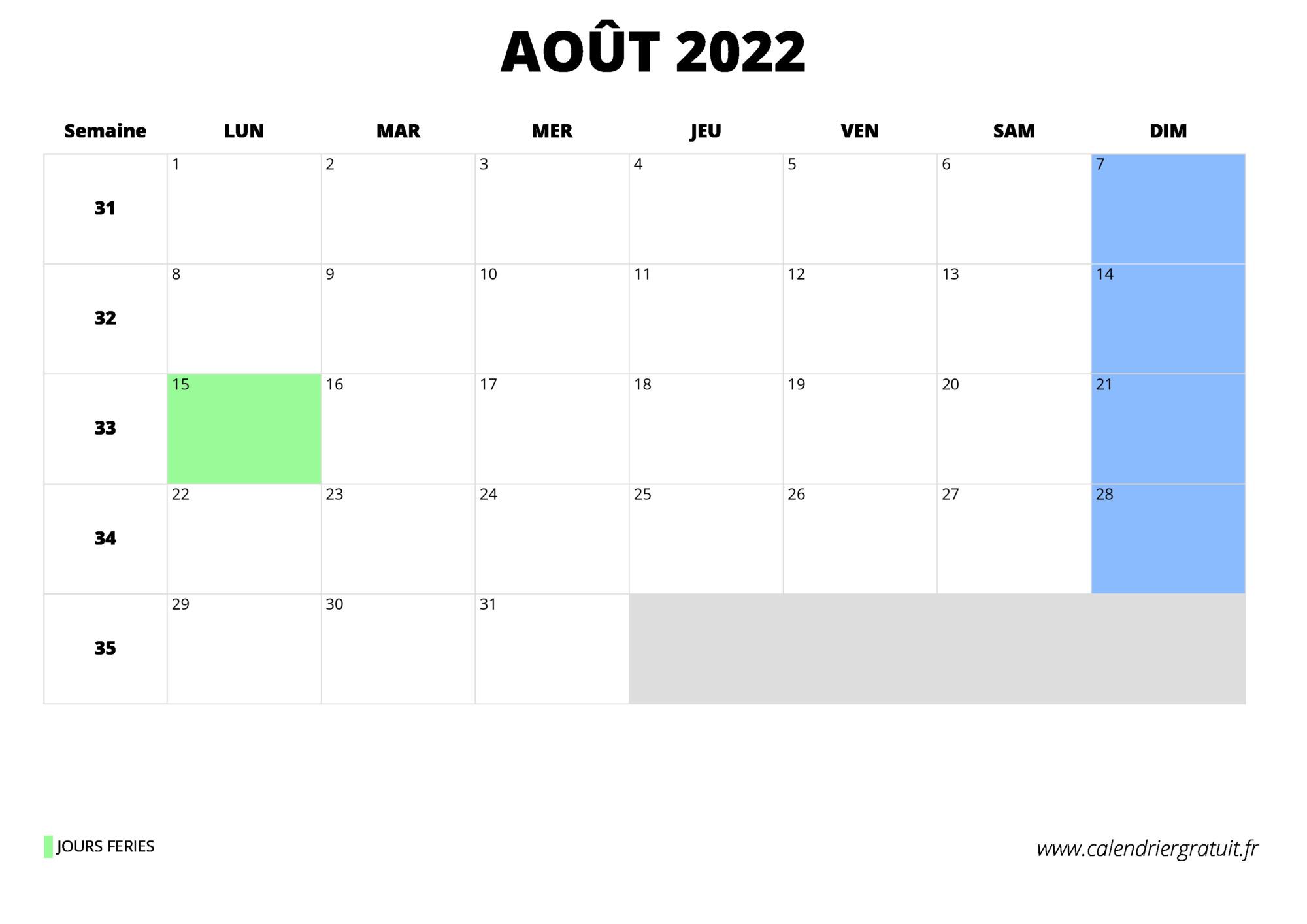 Calendrier Aout 2022 Pdf calendrier août 2022