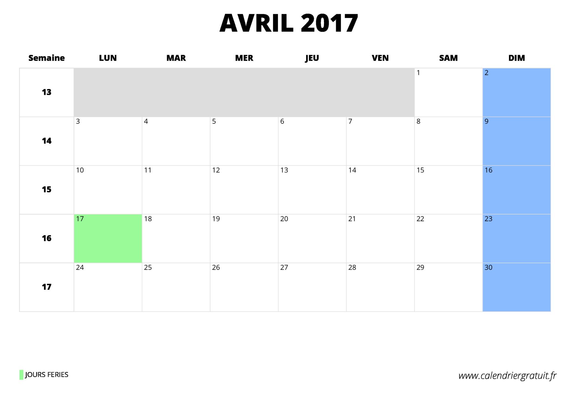 Calendrier avril 2017 imprimer - Calendrier lune montant et descendante 2017 ...