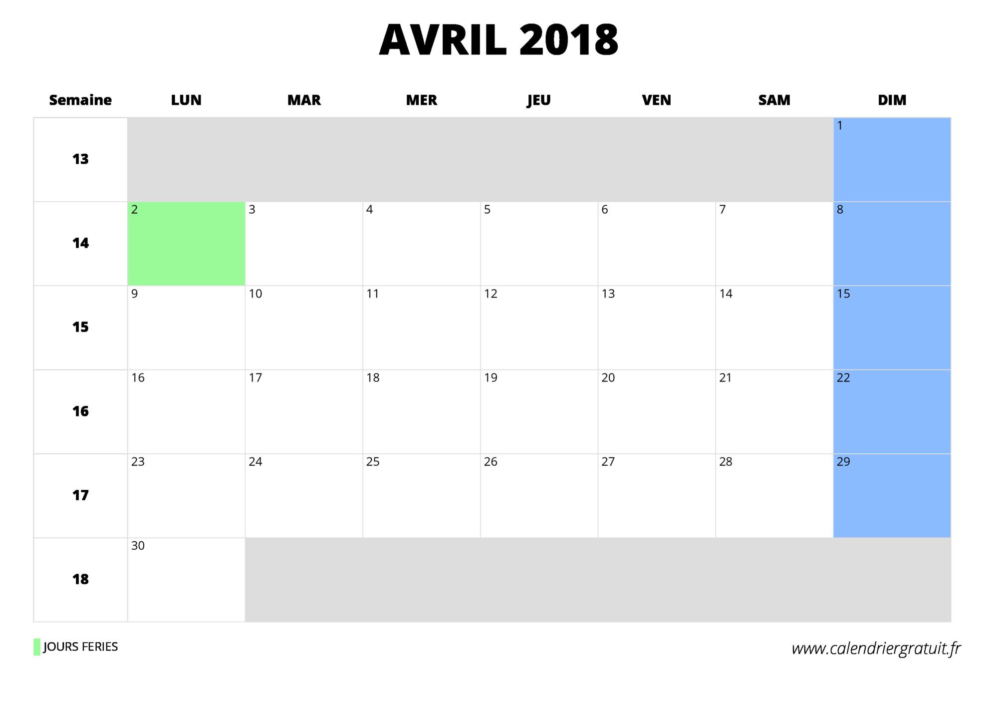 calendrier avril 2018  u00e0 imprimer