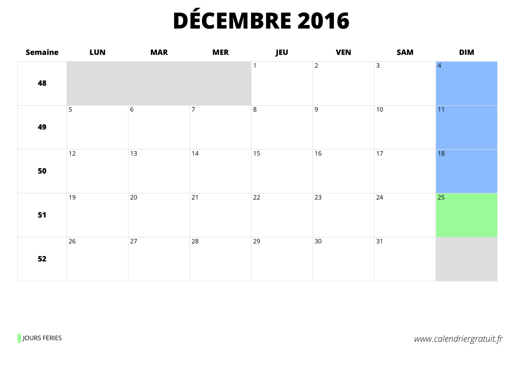 Calendrier Decembre 2016 Related Keywords & Suggestions - Calendrier ...