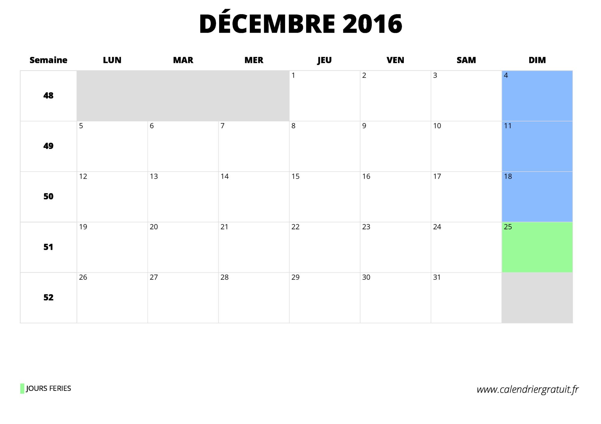 Calendrier d cembre 2016 imprimer - Calendrier lunaire decembre 2016 ...