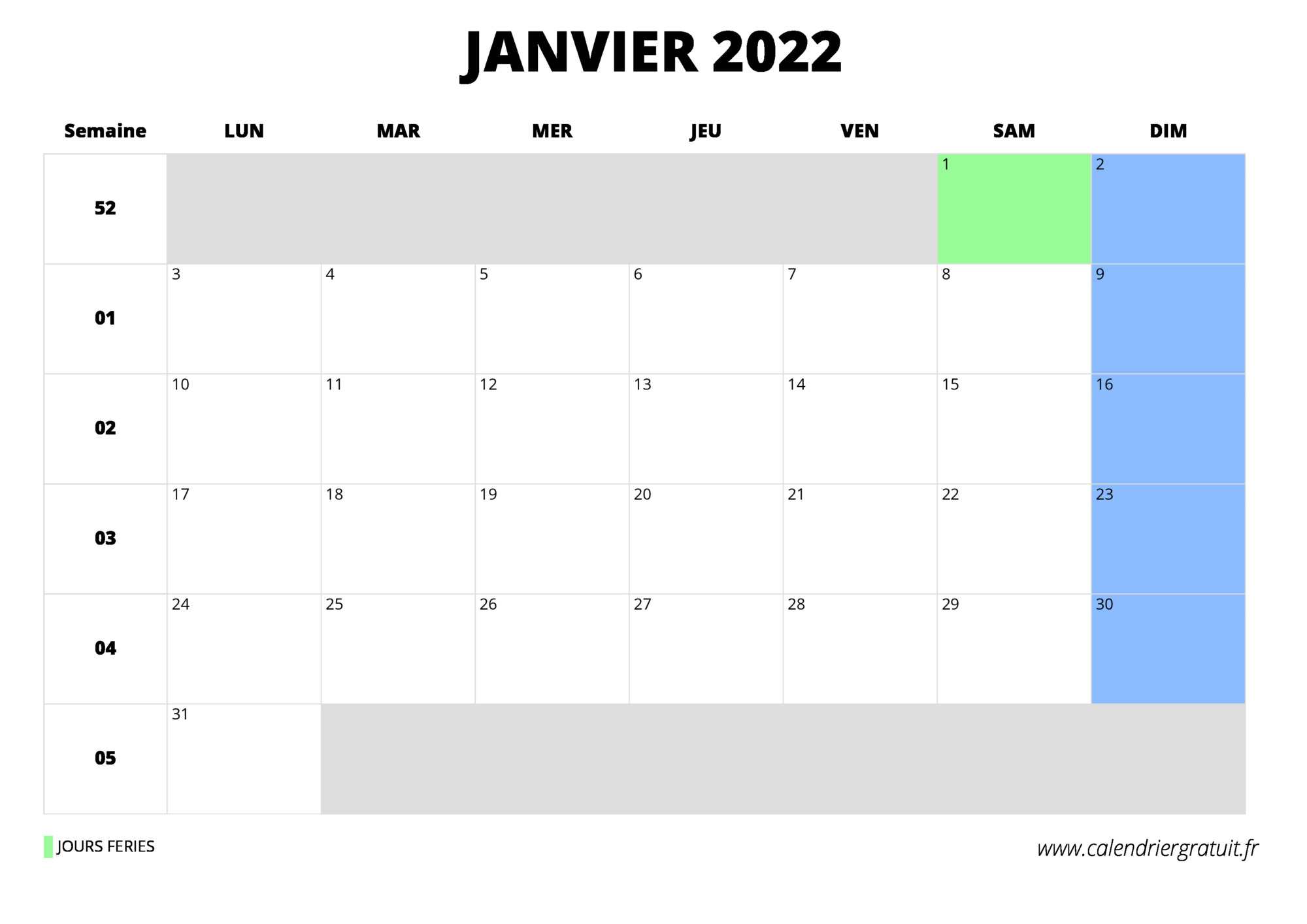 Calendrier Janvier 2022 Gratuit calendrier janvier 2022