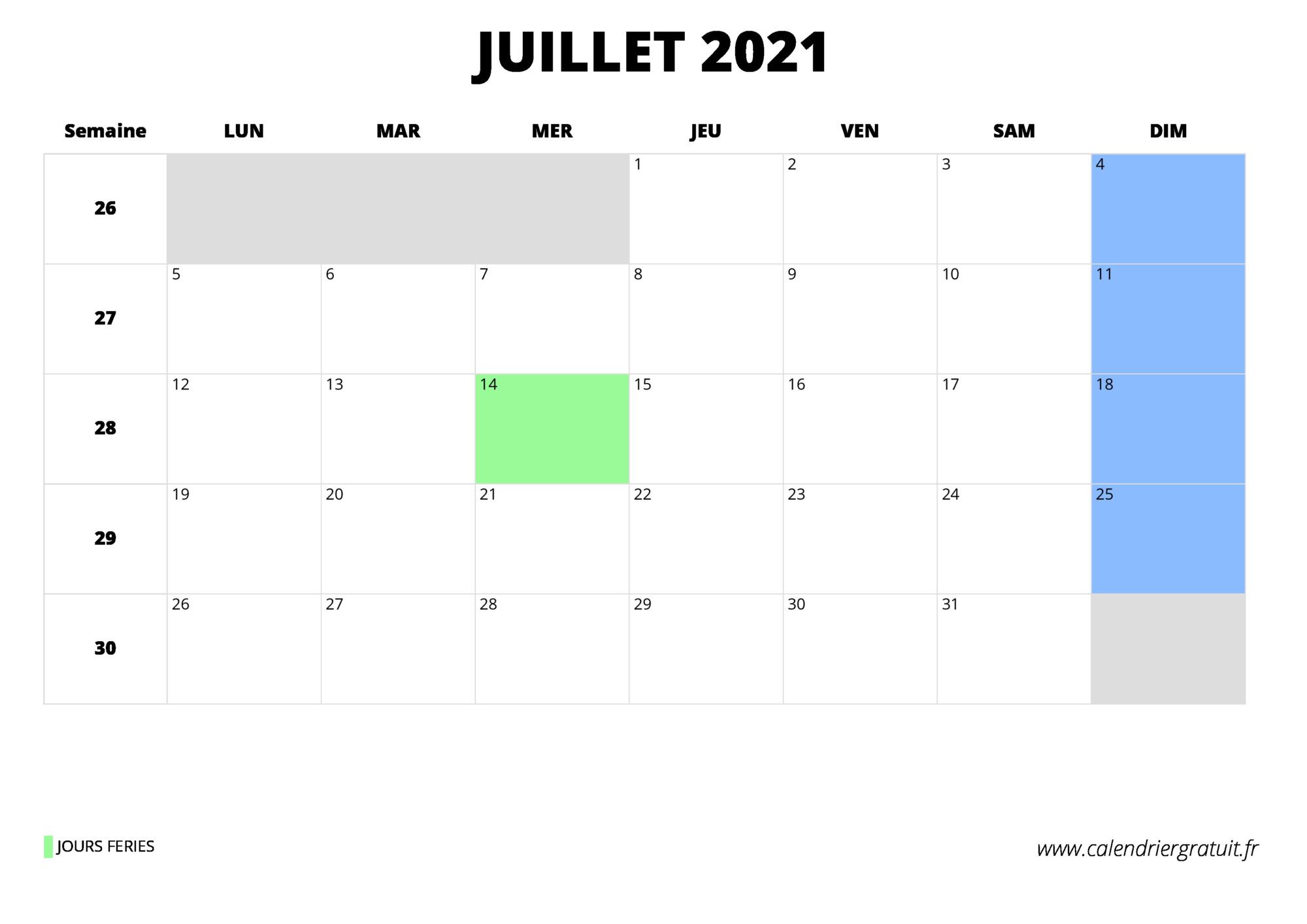 calendrier juillet 2021 à imprimer