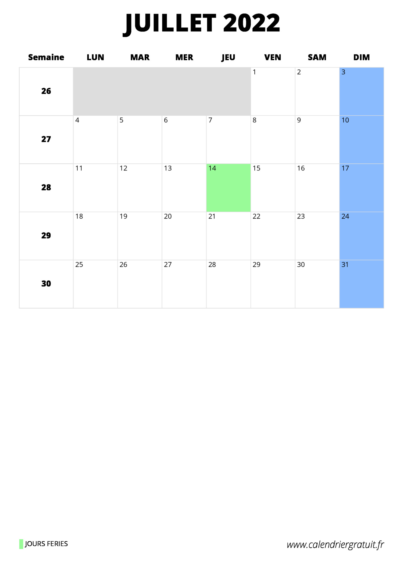 Calendrier Juillet 2022 Excel calendrier juillet 2022