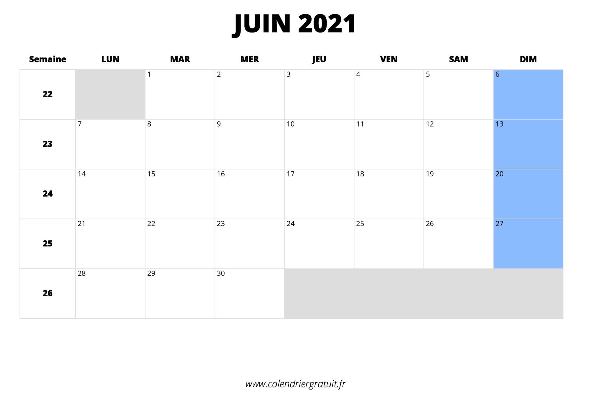 calendrier juin 2021 à imprimer