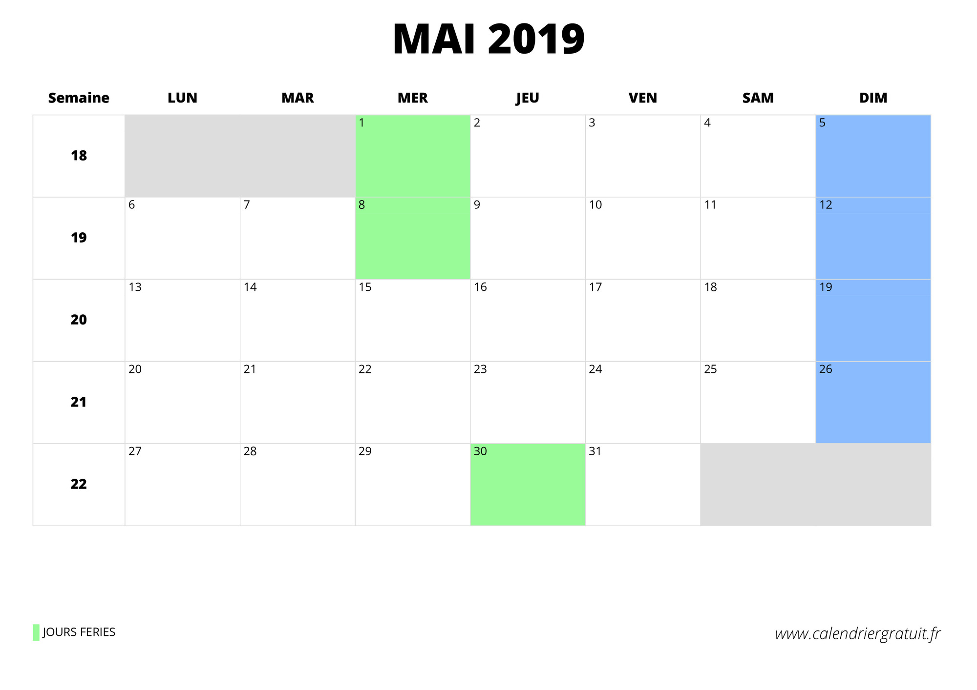 Calendrier Feries 2019.Calendrier Mai 2019 A Imprimer