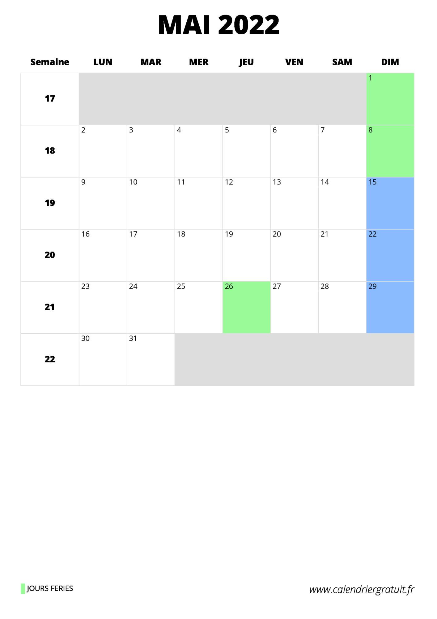 Calendrier Mai 2022 Jours Fériés calendrier mai 2022