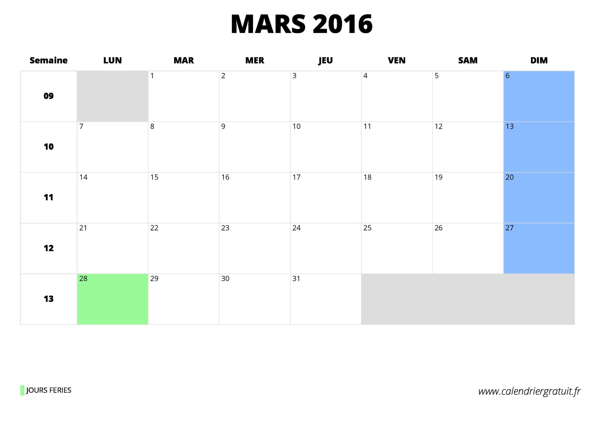 Calendrier mars 2016 imprimer for Calendrier jardin mars 2016