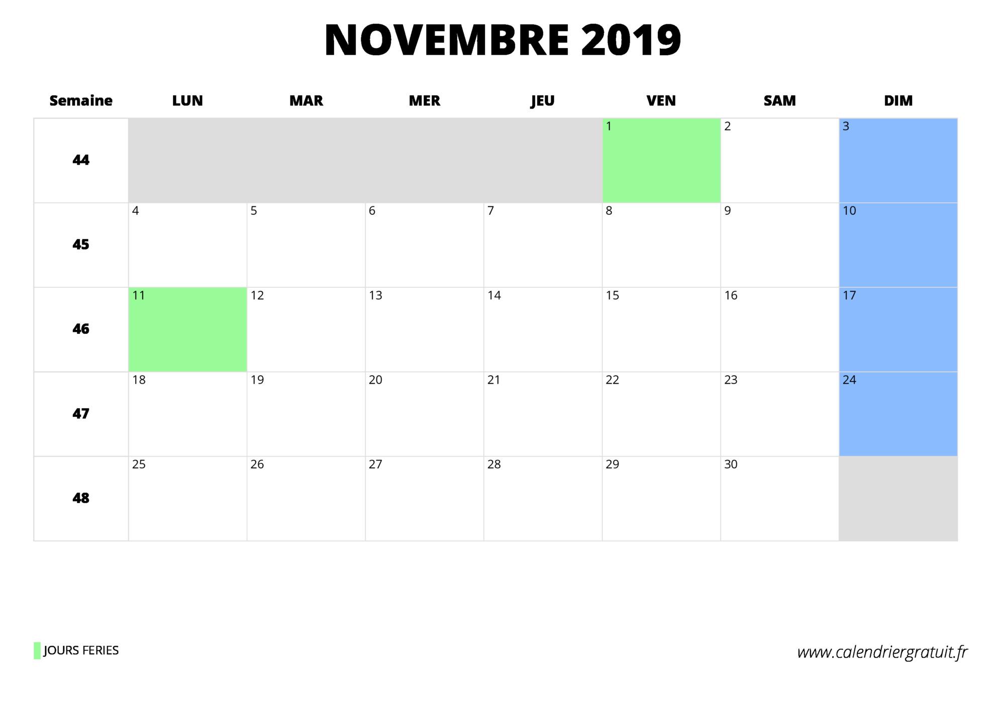 Calendrier 2019 Excel A Telecharger.Calendrier Novembre 2019 A Imprimer