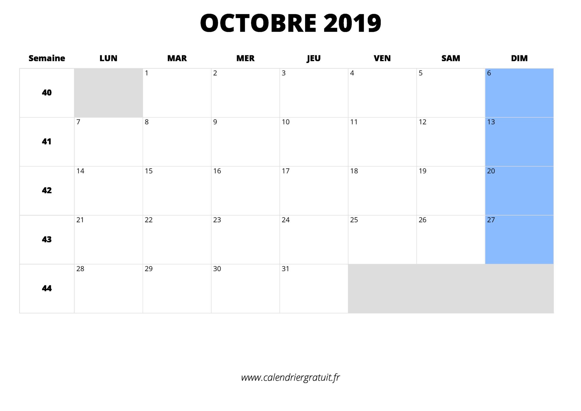 Octobre Calendrier 2019.Calendrier Octobre 2019 A Imprimer