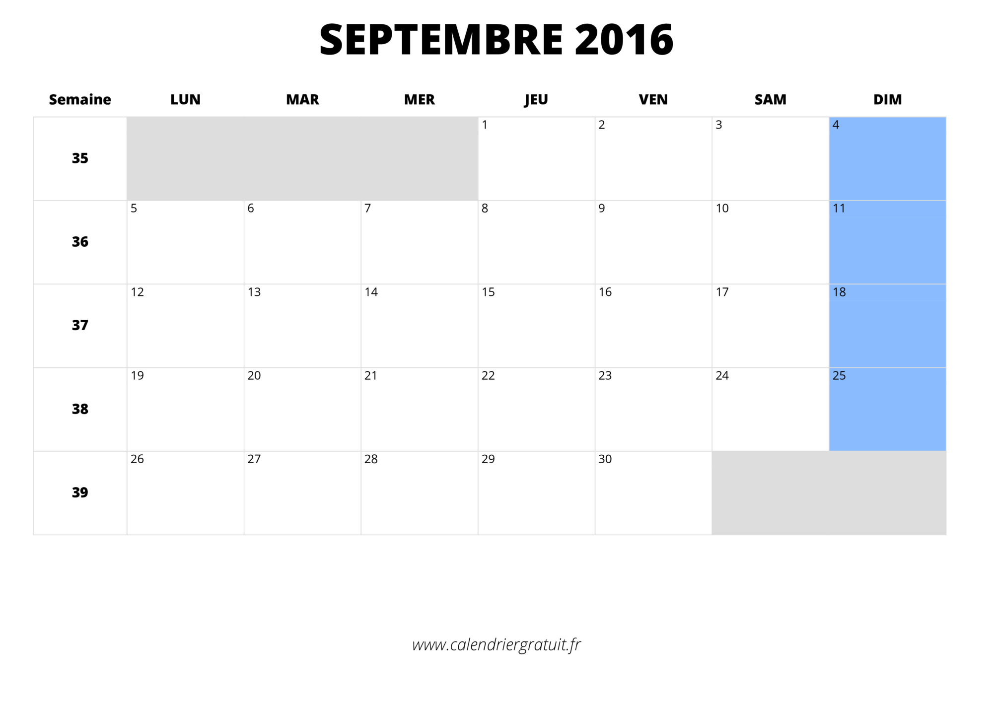 Calendrier septembre 2016 imprimer - Calendrier lunaire septembre 2016 ...