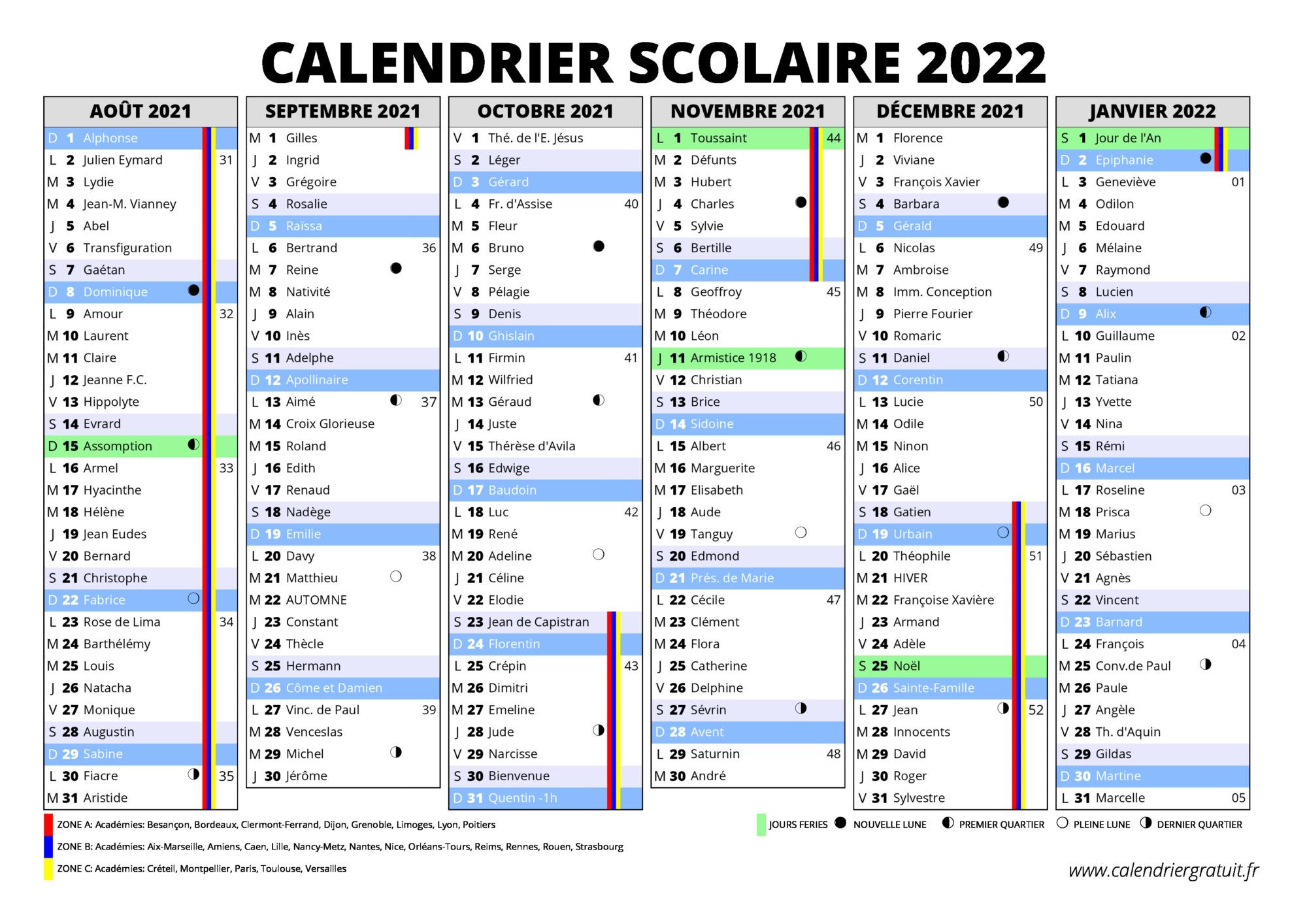 Calendrier 2022 Avec Vacances Scolaires Et Jours Feries Calendrier scolaire 2021 2022 à imprimer