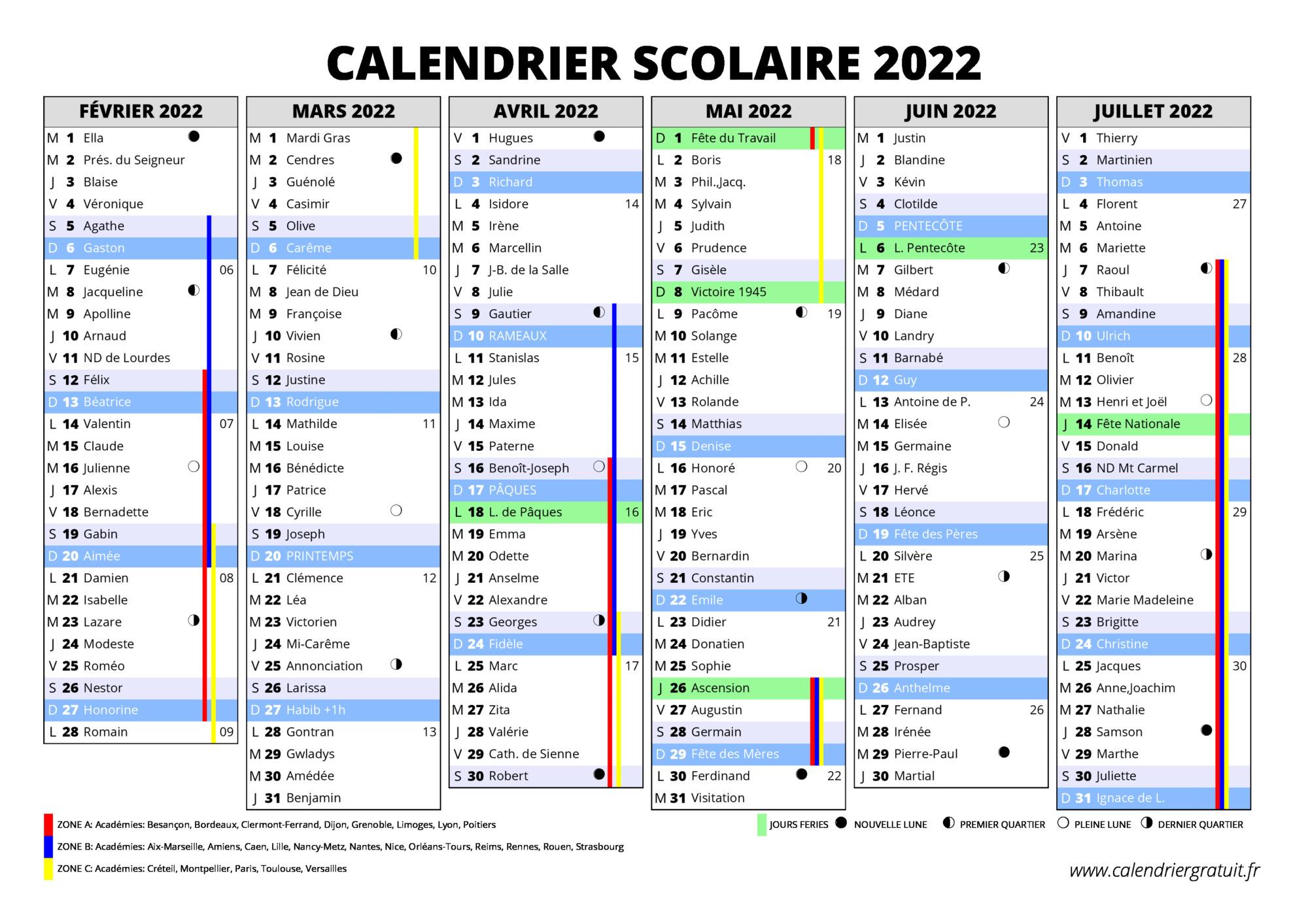 Calendrier 2022 Avec Vacances Scolaires Excel Calendrier scolaire 2021 2022 à imprimer